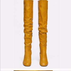 Zara Yellow Above Knee Boots